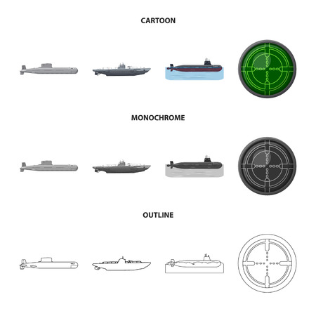 Vector illustration of war  and ship icon. Set of war  and fleet vector icon for stock.