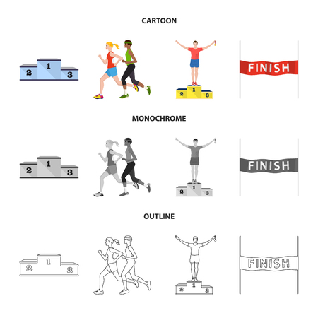Vector illustration of sport  and winner logo. Set of sport  and fitness  stock symbol for web. Illustration