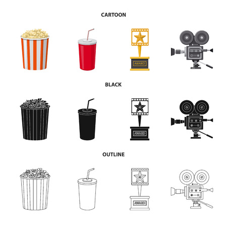 Isolated object of television and filming logo. Collection of television and viewing vector icon for stock.