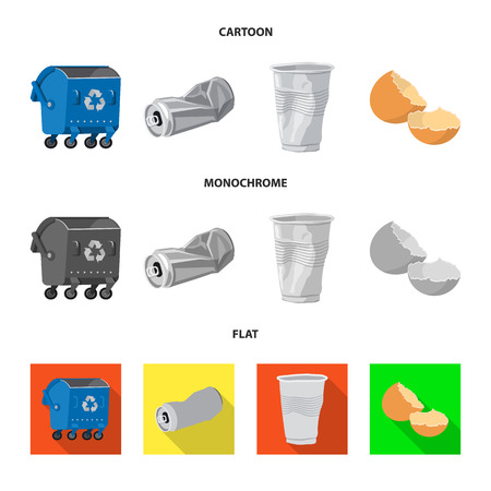 Vector design of dump  and sort sign. Collection of dump  and junk stock symbol for web.