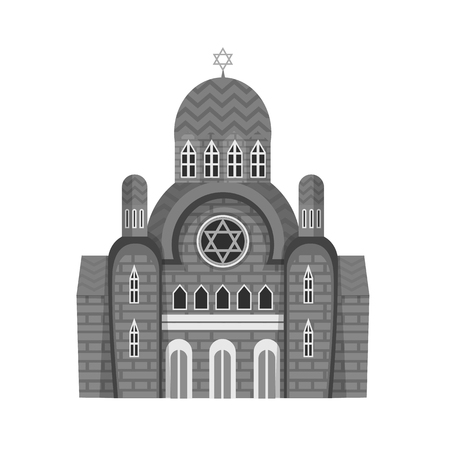 Vector design of synagogue and jewish sign. Set of synagogue and church stock symbol for web.