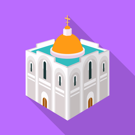 Vector illustration of church and orthodox icon. Collection of church and christmas stock vector illustration. Illustration