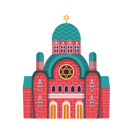 Vector design of synagogue and jewish symbol. Collection of synagogue and church stock vector illustration. Vector Illustration
