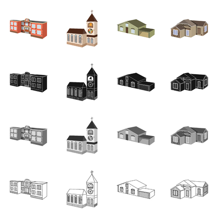 Vector illustration of facade and housing sign. Collection of facade and infrastructure stock symbol for web. Vectores