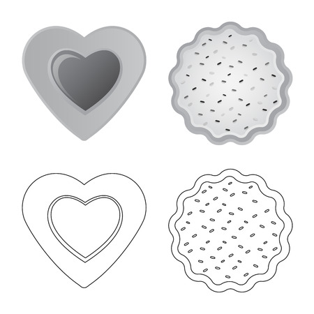 Isolated object of biscuit and bake icon. Collection of biscuit and chocolate stock vector illustration.