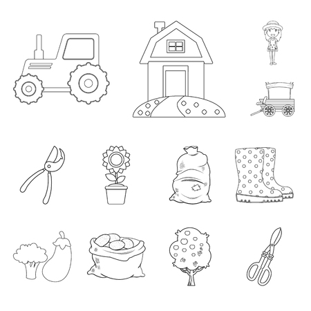 Isolated object of farm and agriculture symbol. Set of farm and plant vector icon for stock. Illustration
