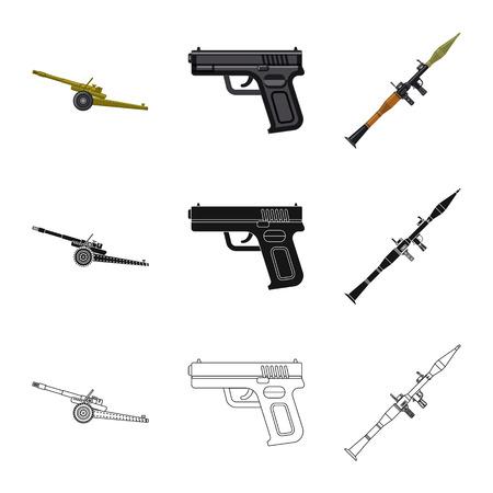 Geïsoleerde object van pictogram wapen en pistool. Verzameling van wapen en leger vector pictogram voor voorraad. Vector Illustratie