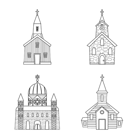 Vector illustration of architecture and faith symbol. Collection of architecture and temple vector icon for stock.