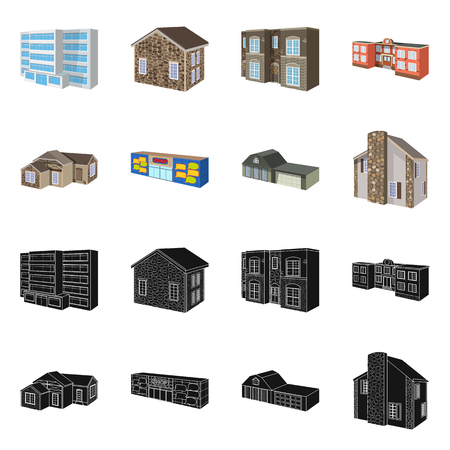 Vector design of facade and housing symbol. Collection of facade and infrastructure vector icon for stock.