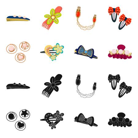 Illustrazione vettoriale del logo di bellezza e moda. Set di bellezza e simbolo di borsa femminile per il web. Logo