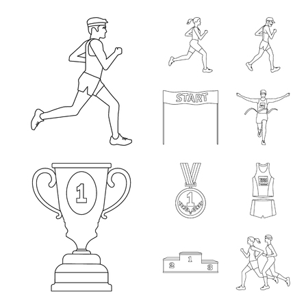 Vector illustration of exercise and sprinter  sign. Set of exercise and marathon vector icon for stock.