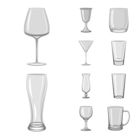 Isolated object of capacity and glassware symbol. Collection of capacity and restaurant vector icon for stock.