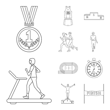 Vector illustration of exercise and sprinter. Collection of exercise and marathon vector icon for stock.