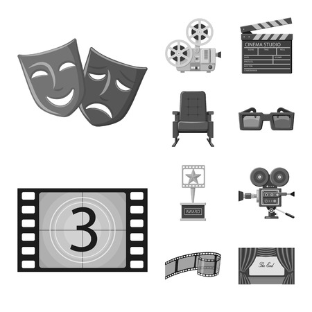 Vector design of cinematography and studio symbol. Set of cinematography and filming stock symbol for web.