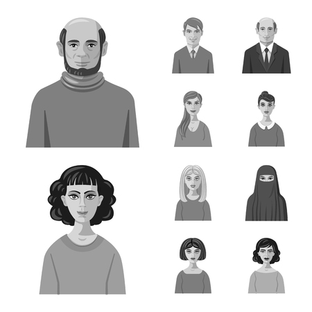 Vector illustration of face and person icon. Collection of face and portrait stock symbol for web. Çizim