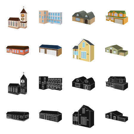 Vector illustration of facade and housing icon. Collection of facade and infrastructure vector icon for stock. 矢量图像