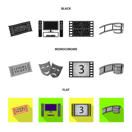 Vector illustration of television and filming logo. Set of television and viewing stock vector illustration. Çizim