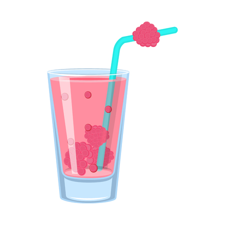 Illustration vectorielle de l'icône de verre et de framboise. Collection de verre et symbole boursier de fruits pour le web.