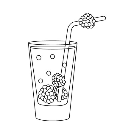 Vector illustration of glass and raspberry logo. Set of glass and fruit vector icon for stock.