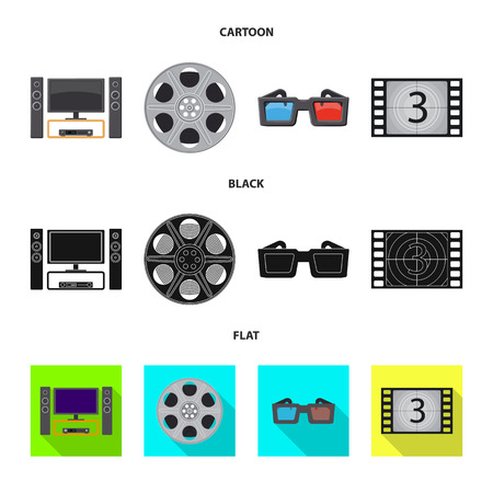Vector design of television and filming icon. Set of television and viewing stock symbol for web.