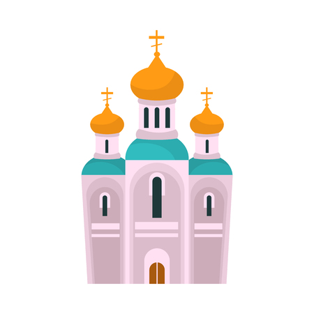 Isolated object of church and orthodox sign. Set of church and christmas stock vector illustration. Çizim