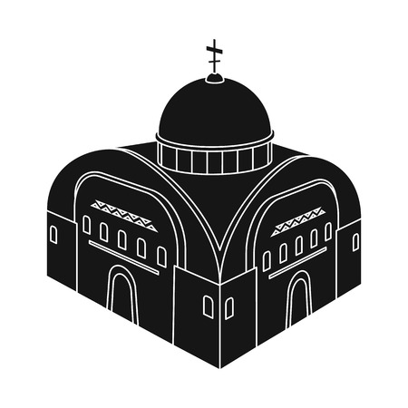 Isolated object of church and orthodox symbol. Collection of church and chapel stock vector illustration. Çizim