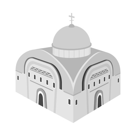 Vector design of church and orthodox symbol. Set of church and chapel stock vector illustration.