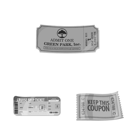 Vector design of ticket and admission logo. Set of ticket and event stock symbol for web. Logo