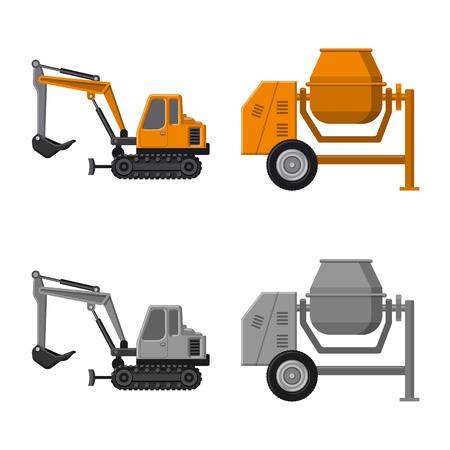 Objet isolé du logo de construction et de construction. Collection d'icônes vectorielles de construction et de machines pour le stock.