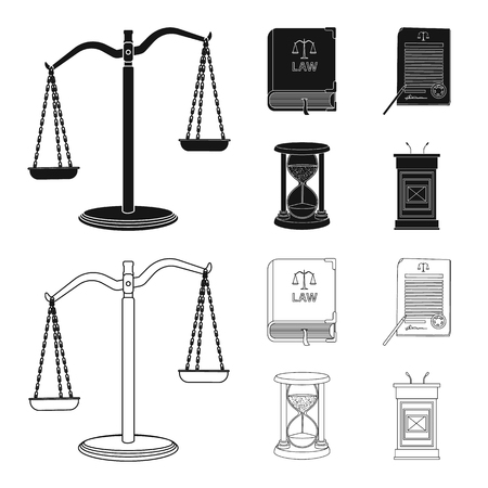 Vector illustration of law and lawyer icon. Set of law and justice stock vector illustration. Stock Illustratie