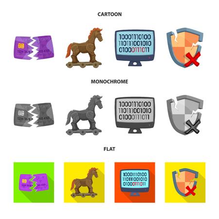 Vector illustration of virus and secure logo. Collection of virus and cyber vector icon for stock. 矢量图像