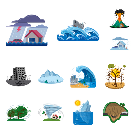 Vector illustration of natural and disaster logo. Collection of natural and risk vector icon for stock.