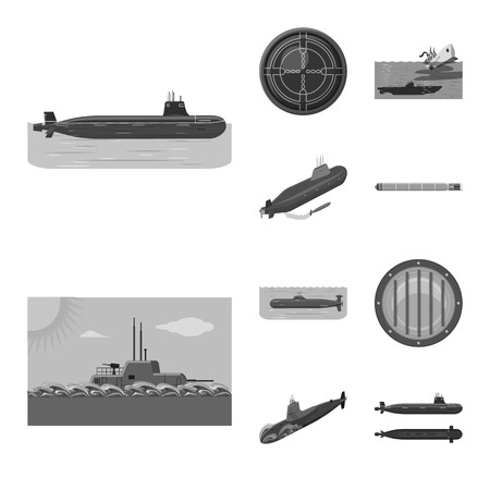 Vector design of army and deep   symbol. Collection of army and nuclear stock vector illustration.
