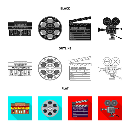 Isolated object of television and filming symbol. Set of television and viewing stock symbol for web. Çizim