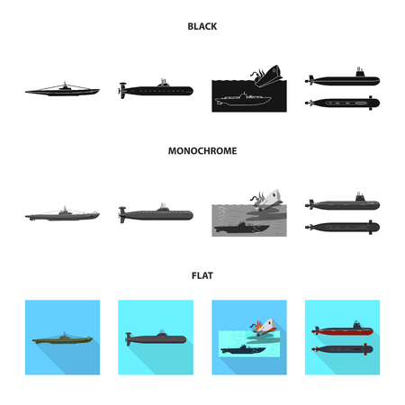 Vector illustration of war and ship symbol. Set of war and fleet stock symbol for web.