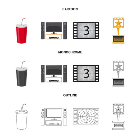 Isolated object of television and filming sign. Set of television and viewing vector icon for stock.