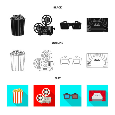 Vector illustration of television and filming sign. Collection of television and viewing stock vector illustration. Ilustração