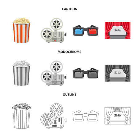 Vector illustration of television and filming sign. Collection of television and viewing stock vector illustration. Çizim