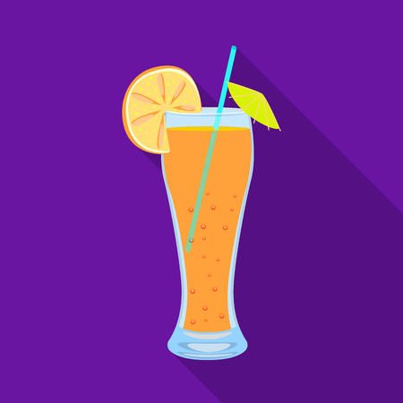 Vector illustration of juice and orange logo. Set of juice and fruit stock symbol for web. Ilustração