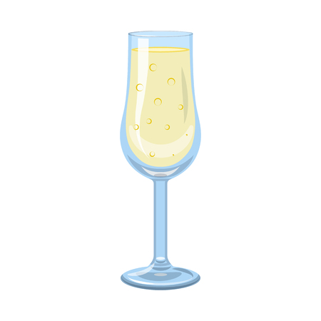 Vector illustration of champagne and glass icon. Collection of champagne and transparent stock symbol for web. Ilustração