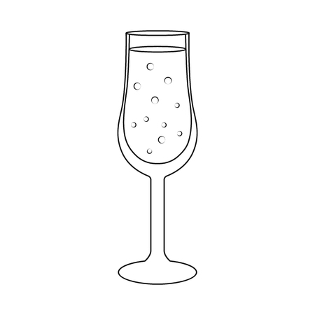 Isolated object of champagne and glass sign. Set of champagne and transparent vector icon for stock.