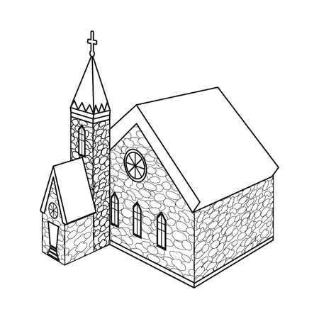 Vector illustration of church and catholic symbol. Collection of church and medieval stock symbol for web. Ilustração