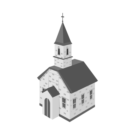 Vector design of church and orthodox logo. Collection of church and cross stock symbol for web. Çizim