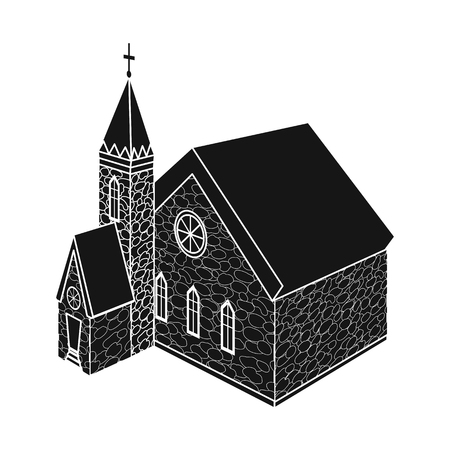 Vector design of church and catholic logo. Set of church and medieval stock symbol for web.