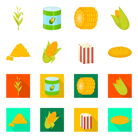 Vector design of cornfield and vegetable icon. Collection of cornfield and vegetarian stock symbol for web.