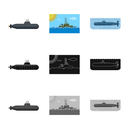 Vector design of war  and ship icon. Collection of war  and fleet vector icon for stock. Stock Illustratie