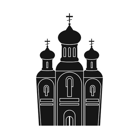 Vector design of church and orthodox icon. Collection of church and christmas stock vector illustration.