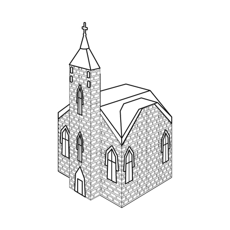 Vector design of church and catholic sign. Set of church and medieval stock vector illustration. Ilustração