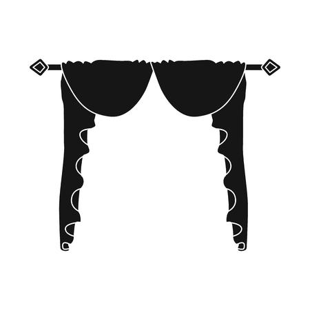 Vector design of lambrequin and hall logo. Set of lambrequin and cosiness vector icon for stock. Illusztráció