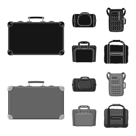 Oggetto isolato del segno valigia e bagaglio. Collezione di illustrazione vettoriale d'archivio valigia e viaggio.
